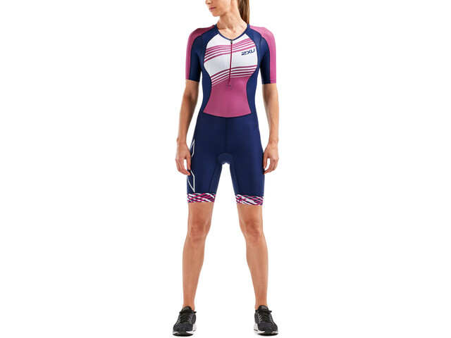 2XU Compression Traje triatlón con mangas Mujer, navy/very berry white lines